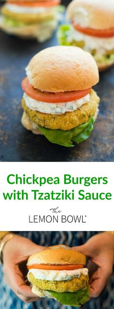 These vegetarian Middle Eastern chickpea burgers are made with fresh herbs and topped with Tzatziki, a creamy cucumber-dill yogurt sauce.