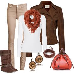 """Pops of Orange"" by smores1165 on Polyvore-not a fan of the jacket, but LOVE the rest. Great fall colors"