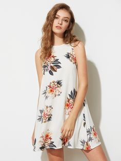 0821a5f25b9dc ... fit your fashionable needs. See more. Shop Flower Print Buttoned  Keyhole Back Flowy Dress online. SheIn offers Flower Print Buttoned Keyhole
