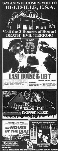 Vintage Everyday: Old Horror Movie Newspaper Ads. Last House on the Left, The House That Dripped Blood and The House by the Lake. Horror Movie Posters, Cinema Posters, Movie Poster Art, Horror Films, Event Posters, Film Posters, Vintage Movies, Vintage Ads, Horror House