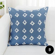 Modern minimalist blue geometric pillow for couch 18 inch decorative throw pillows