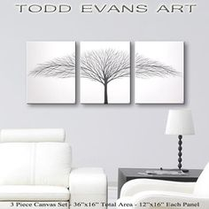 Wall Art Canvas Paintings Original Tree Painting 36x16 Home Living Hangings Black And White