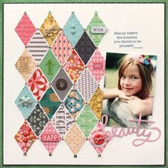 Beauty scrapbook layout by Lisa Dickinson using @basicgrey Sunkissed collection