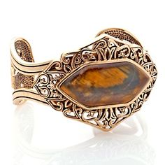 "Studio Barse Hexagon-Shaped Tiger Eye and Bronze 6-3/4"" Cuff Bracelet at HSN.com."