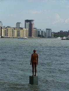 View of Antony Gormley Sculpture from The Grapes, Limehouse