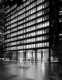 1960 Subject: Plaza of the Seagram's Building Architect(s): Mies van der Rohe & Phillip Johnson Location: 375 Park Ave, New York City, New York Photographer: Ezra Stoller Ludwig Mies Van Der Rohe, Form Architecture, Contemporary Architecture, Seagram Building, Seasons Restaurant, Mix Use Building, Philip Johnson, New York Photographers, Automotive Design
