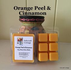 Orange Peel & Cinnamon Wax Melts, Soy Melts, Fall Scent, Holiday Scent, Scented Wax Cubes, Strong, Home Scents, Handmade, Made in the USA by AshcraftCottage on Etsy