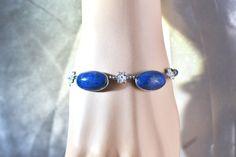 Vintage Natural Azurite in Sterling Bracelet by LustfulJewels
