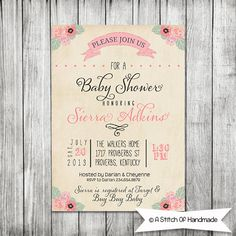 Elegant Baby Shower Invite Printable by CherryBerryDesign Baby Shower Niño, Elegant Baby Shower, Girl Shower, Baby Shower Parties, Bridal Shower, Dinner Invitations, Save The Date Invitations, Wedding Invitations, Wedding Stationery