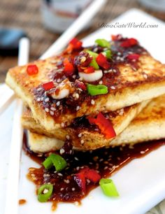 Fried Tofu w/ Spicy Ginger Sauce. Thin slices of tofu are fried & drizzled w/ a sauce made of red chilis & grated ginger. Tofu Recipes, Asian Recipes, Vegetarian Recipes, Cooking Recipes, Healthy Recipes, Tofu Dishes, 365days, Sandwiches, Ginger Sauce