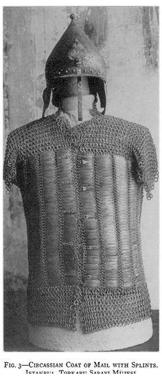 Circassian mail and plate shirt and chichak type helmet, Topkapı Palace Museum.