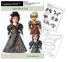 1890s Gigot Sleeve Doll Clothes Pattern as PDF File par CARPATINA