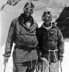 New Zealand mountaineer, explorer and philanthropist Edmund Hillary (1919-2008) and Nepalese Sherpa mountaineer Tenzing Norgay (1914-1986), who on 29 May 1953, became the first climbers confirmed to have reached the summit of the world's tallest mountain, Mount Everest in the Himalayas