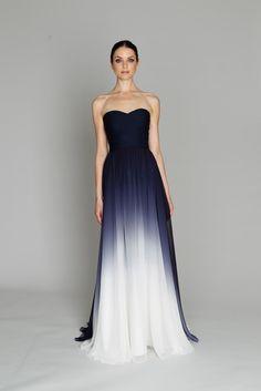 Dark blue grey white gradient dress