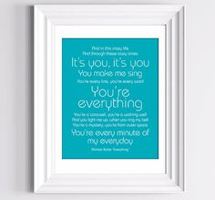 """Framed song lyrics of """"Everything"""" by Michael Buble. Favorite part of the song is """"You light me up when you ring my bell."""" because it reminds me of my favorite TV couple, Bo & Carly (Days)."""