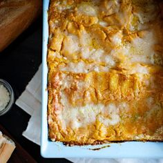 Pumpkin Lasagna   No need to roast fresh pumpkin for this dish (although you certainly could); using canned unseasoned pumpkin puree is much quicker, and it works just fine. Like most lasagnes, this one is easier to cut if left to set for ten minutes or so before serving.
