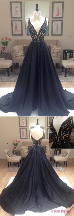 Sexy Prom Gowns,Black Prom Dress,Open Back Prom Dresses ,Long Spaghetti Straps Evening Dress,Modest Formal Dress PD20186373