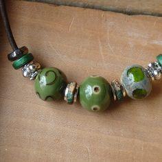 "Handmade artisan lampwork ""Wasabi"" necklace - $26.00"