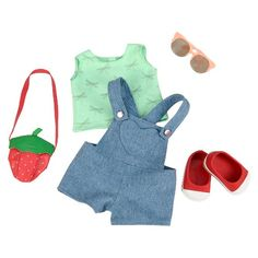 """• Designed for 18"""" dolls<br>• Complete outfit with accessories<br>• Attention to detail throughout<br><br>It's playtime with the Regular Outfit Overalls by Our Generation™. These doll clothes are designed to give favorite OG Dolls new adventures and exciting imaginative storylines to live out."""