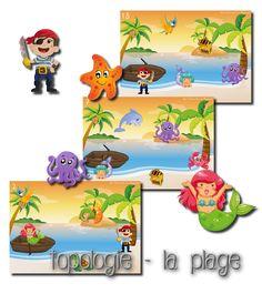 La maternelle de Laurène: Topologie - les pirates L'enfant peut jouer seul avec sa planche et son modèle, mais ils peuvent aussi jouer par deux, un enfant possédant le modèle et le cachant à son partenaire, et doit lui expliquer où positionner les animaux pour reproduire le modèle.