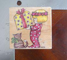 Mary Engelbreit's Girl in Christmas PJ's rubber stamp