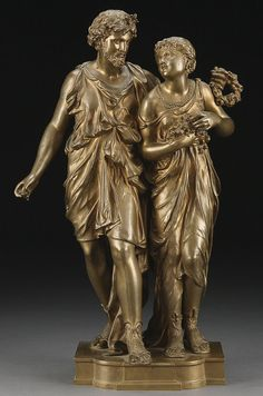 A French bronze classical couple, Etienne Henri Dumaige, 19th century.