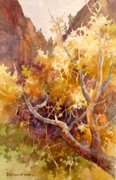 Autumn Leaves in Zion , Watercolor painting of Zion National Park - Watercolor Paintings by Roland Lee