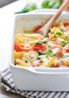 Dump-and-Bake Chicken Caprese Pasta! Will make with NF Mozzarella. I also added about 3-4 oz of FF cream cheese. Very fresh tasting. Didn't have Penne so used Fettuccini noodles broken up.