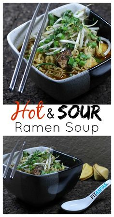 Hot and Sour Ramen Soup Recipe, with #glutenfree and #vegetarian options to make this delicious soup available to everyone! // FITaspire