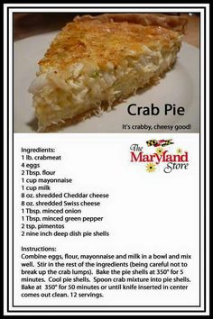 Crab & oyster Crab Cake Recipes, Quiche Recipes, Fish Recipes, Seafood Recipes, Cooking Recipes, Crab Meat Pie Recipe, Seafood Appetizers, Canned Crab Recipes, Snacks