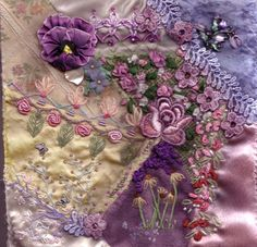 Lavender floral embellishments, crazy quilt