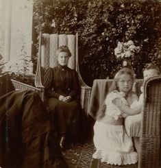 Maria Pavlovna, Olga and Alexei at the Lower Dacha in Peterhof, 1905