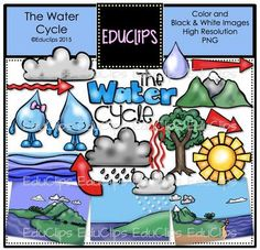 The Water Cycle Clip Art Bundle (Color and B&W) from Educlips on TeachersNotebook.com -  (52 pages)  - The Water Cycle Clip Art Bundle (Color and B&W)