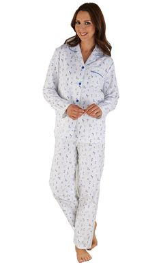 Slenderella 100% Cotton Flannelette Long Sleeve Pyjamas - Cream - 16/18 20/22 24/26  #pyjamas #wrap #pjs #nighty #sweetheart #nightwear #nightdress #kimono Long Sleeve Pyjamas, Fleece Pajamas, Wrap, Covered Buttons, Blue Cream, Pjs, Color Show, Nightwear, Soft Fabrics