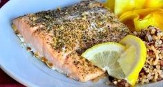 Baked Lemon Herb Salmon: Use your family's favorite type of fish for this versatile recipe -- from tilapia to flounder or halibut. Bake 10 minutes per inch of thickness or until fish flakes easily with a fork. andlt;em