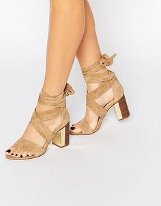 River Island | River Island Suede Tie Up Block Heeled Sandal at ASOS