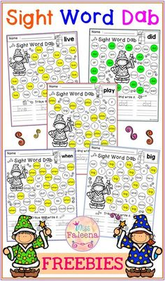There are 10 pages of worksheets Sight Word Dab in this product. This product w Preschool Sight Words, Teaching Sight Words, Sight Word Practice, Sight Word Games, Sight Word Activities, Classroom Activities, Preschool Activities, Children Activities, First Grade Sight Words
