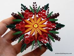 Quilled Star Snowflake Crystal Mandala Holiday Christmas Decoration Ornament Paper Handmade Festive Gift Present Favor WallArt Corporate Arte Quilling, Paper Quilling Patterns, Quilling Paper Craft, Paper Crafts, Quilling Ideas, Origami Christmas Ornament, Quilling Christmas, Christmas Crafts, Christmas Tree