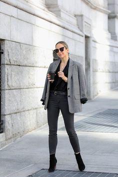 Monochromatic Grey Outfit, Tweed Oversized Boyfriend Blazer