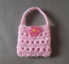 Crochet Purses Design So many of you have liked my little crochet gift purses - and asked for a knitted pattern too . This version . Crochet Barbie Patterns, Doll Shoe Patterns, Knitted Doll Patterns, Barbie Clothes Patterns, Knitted Dolls, Crochet Dolls, Handbag Patterns, Crochet Purses, Knitting Dolls Clothes