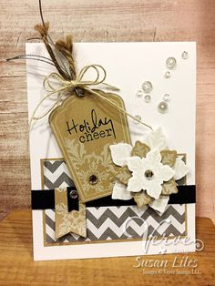 Hand stamped card by Susan Liles using the Glad Tidings and Joyous Noel sets from Verve. #vervestamps    Holiday cards Christmas cards