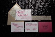 hot pink, gold, summer wedding trends, 2013 wedding trends, letterpress wedding invitations