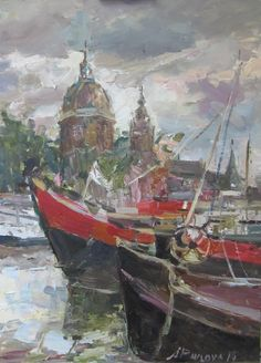 'Prins Hendrikkade with Sint Nicolas Basilic- Amsterdam' Painted plein-air 2014 oil on canvas 60 x 45