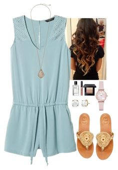 """""""Gold and pastel blue:)"""" by victoriaann34 ❤ liked on Polyvore featuring Banana Republic, Kendra Scott, Jack Rogers, Irene Neuwirth, Bobbi Brown Cosmetics and Emporio Armani"""