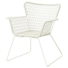 HÖGSTEN white, Chair with armrests, outdoor - IKEA Ikea Outdoor, Indoor Outdoor, Outdoor Lounge, Outdoor Decor, Outdoor Dining Furniture, Garden Furniture, Rustic Furniture, Ikea Patio Furniture, Furniture Ideas