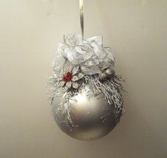 Sale/Christmas Ball Ornament 6 Inch With by IllusionCreations, $20.00 Very elegant