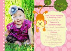 Swinging Monkey Photo Birthday Invitation by SweetBeeDesignShoppe