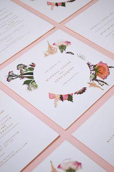 Pressed Flower Wedding Invitations. Designed by Nicety Studio.