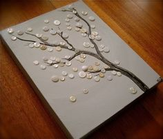 """White Blossoms"" button tree by artbywiley.  LOVE THIS!  Would be super cute w/ fall leave colored buttons blowing off..."