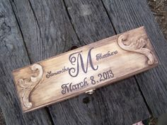 Stained Rustic Wooden Wine Box